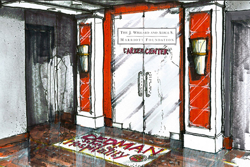 An artist's rendition of the Dedman School of Hospitality's Marriott Career Center.